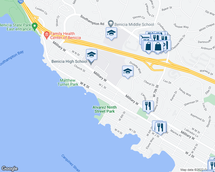 map of restaurants, bars, coffee shops, grocery stores, and more near 979 West L Street in Benicia