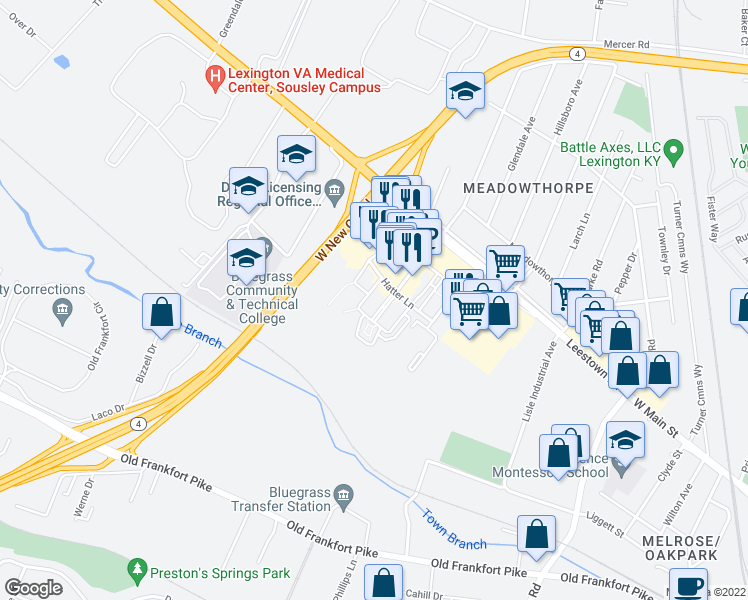 map of restaurants, bars, coffee shops, grocery stores, and more near 149 Old Towne Walk in Lexington