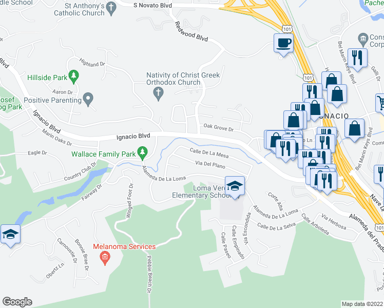 map of restaurants, bars, coffee shops, grocery stores, and more near 481 Calle De La Mesa in Novato