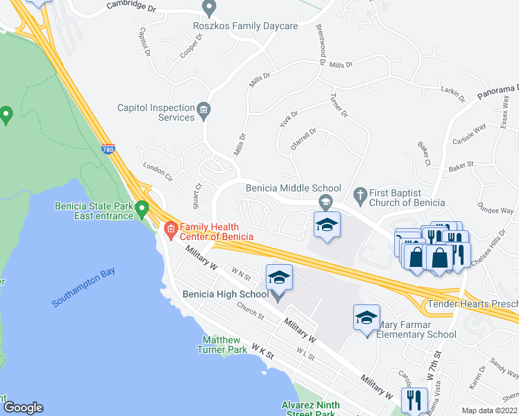 map of restaurants, bars, coffee shops, grocery stores, and more near 1300 Southampton Road in Benicia