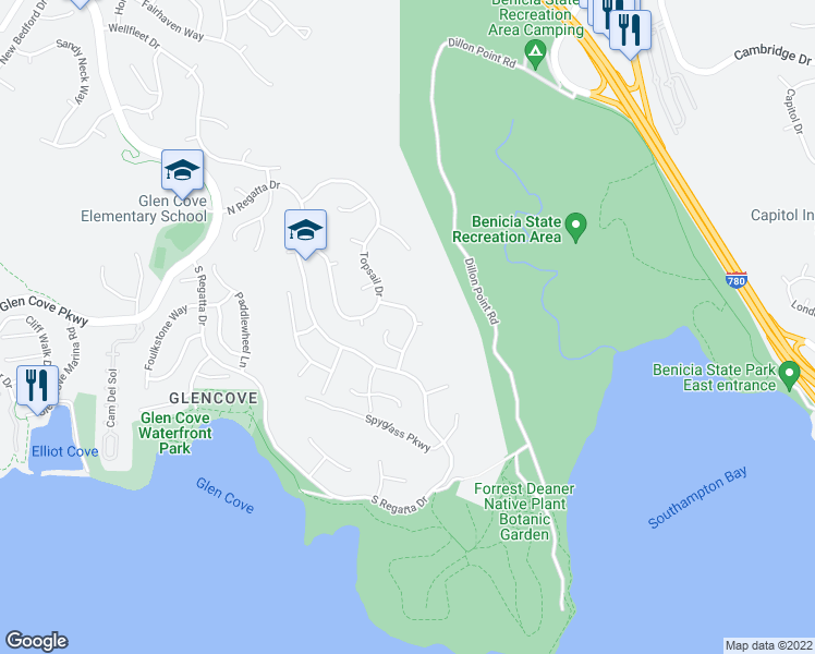 map of restaurants, bars, coffee shops, grocery stores, and more near 235 Sea Mist Drive in Vallejo