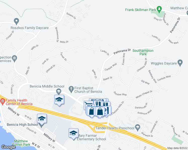 map of restaurants, bars, coffee shops, grocery stores, and more near 310 Baker Court in Benicia