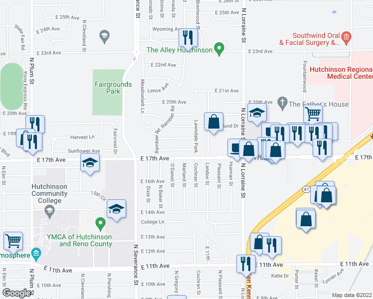 map of restaurants, bars, coffee shops, grocery stores, and more near 17th Crestview in Hutchinson