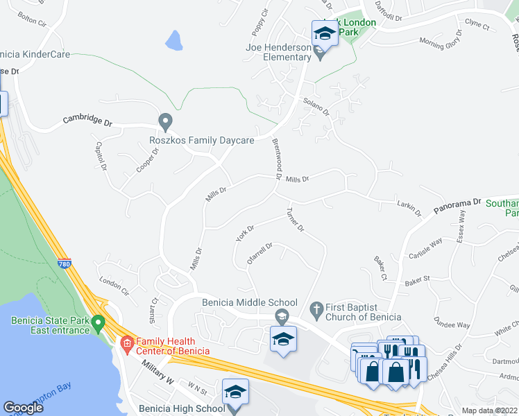 map of restaurants, bars, coffee shops, grocery stores, and more near 442 Brentwood Drive in Benicia