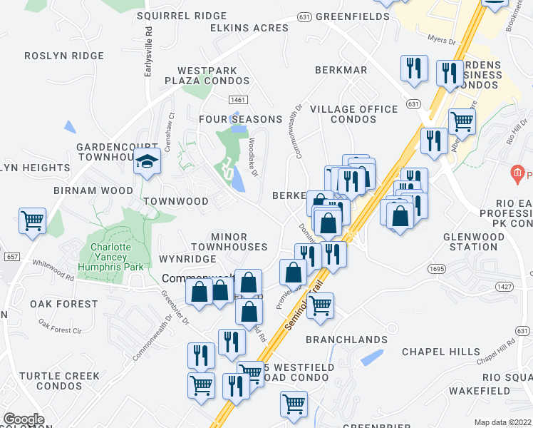 map of restaurants, bars, coffee shops, grocery stores, and more near 1 4 Seasons Drive in Charlottesville