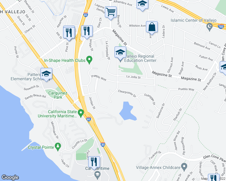 map of restaurants, bars, coffee shops, grocery stores, and more near 95 Del Sur Street in Vallejo