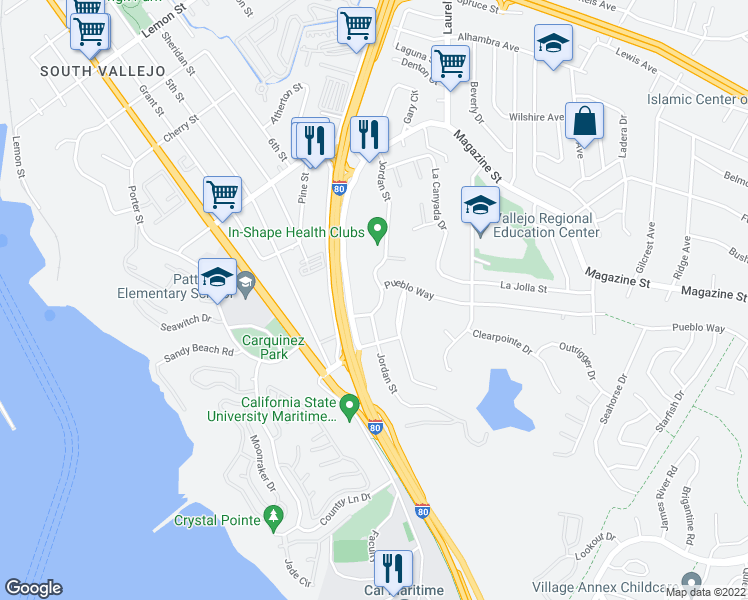 map of restaurants, bars, coffee shops, grocery stores, and more near 246 Jordan Street in Vallejo