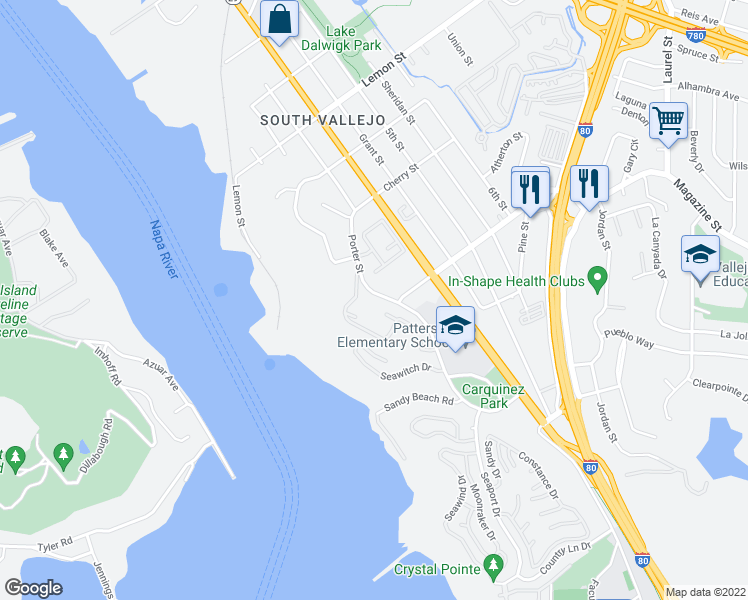 map of restaurants, bars, coffee shops, grocery stores, and more near 961 Porter Street in Vallejo