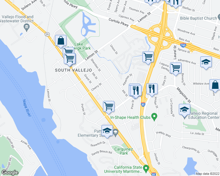 map of restaurants, bars, coffee shops, grocery stores, and more near 835 Sheridan Street in Vallejo