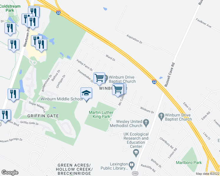 map of restaurants, bars, coffee shops, grocery stores, and more near Gerald Drive in Lexington