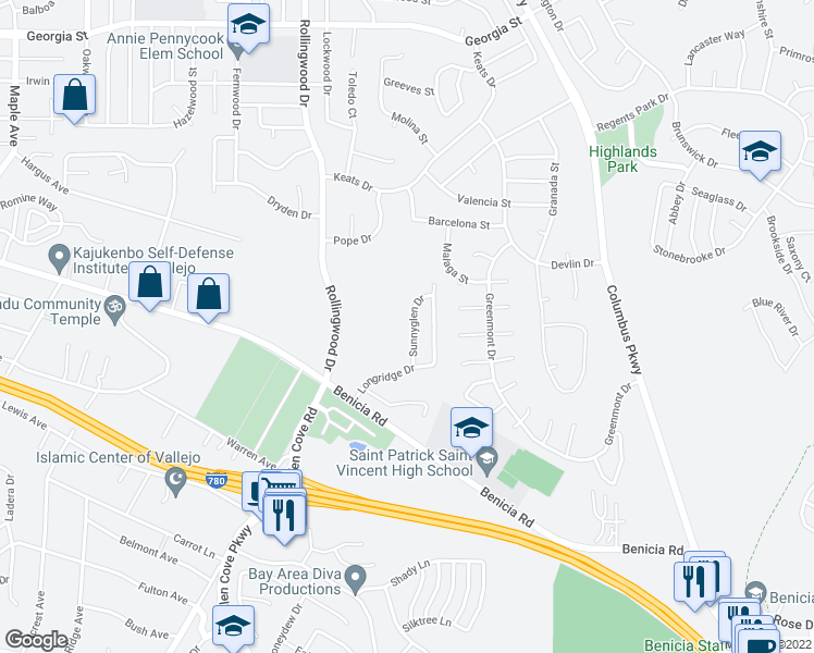 map of restaurants, bars, coffee shops, grocery stores, and more near 133 Sunnyglen Drive in Vallejo