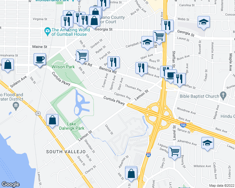 map of restaurants, bars, coffee shops, grocery stores, and more near 401 Cypress Avenue in Vallejo