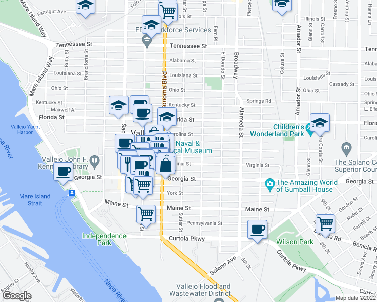 map of restaurants, bars, coffee shops, grocery stores, and more near 709 Capitol Street in Vallejo