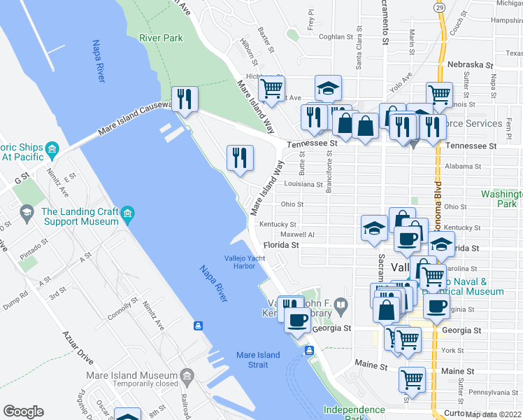 map of restaurants, bars, coffee shops, grocery stores, and more near 690 Mare Island Way in Vallejo