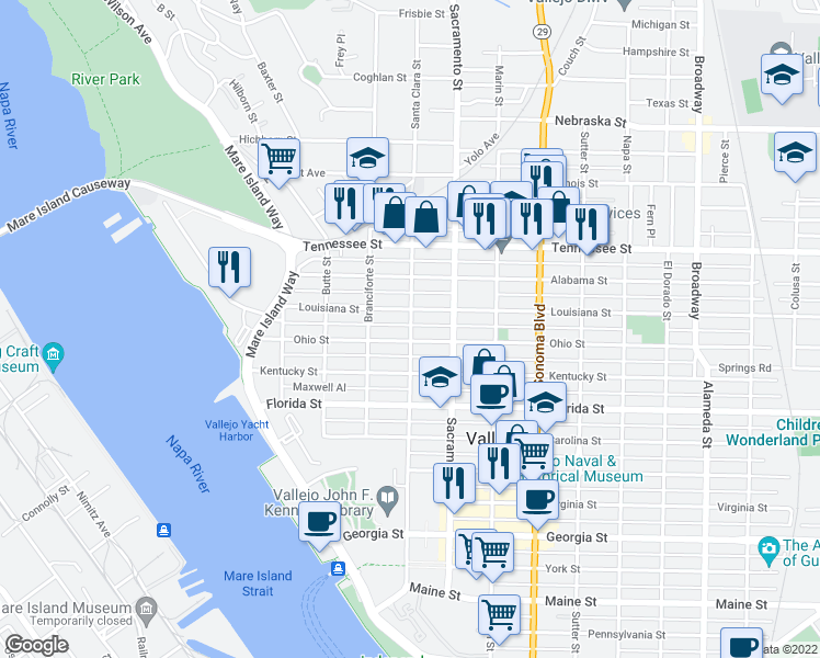map of restaurants, bars, coffee shops, grocery stores, and more near 1017 Santa Clara Street in Vallejo
