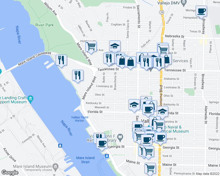 map of restaurants, bars, coffee shops, grocery stores, and more near 227 Louisiana Street in Vallejo