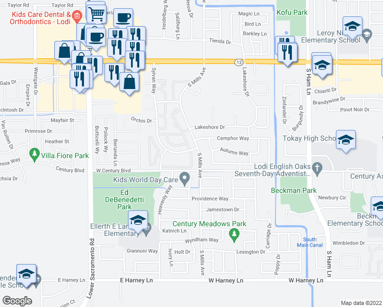 map of restaurants, bars, coffee shops, grocery stores, and more near 2080 Sylvan Way in Lodi