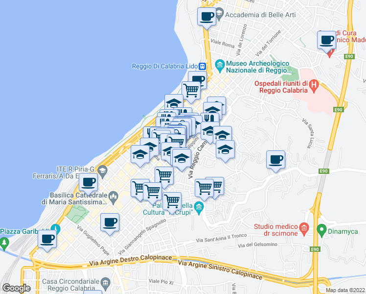 map of restaurants, bars, coffee shops, grocery stores, and more near 121 Via Aschenez in Reggio Calabria