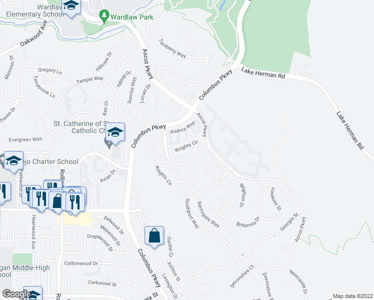map of restaurants, bars, coffee shops, grocery stores, and more near 300 Hilary Way in Vallejo