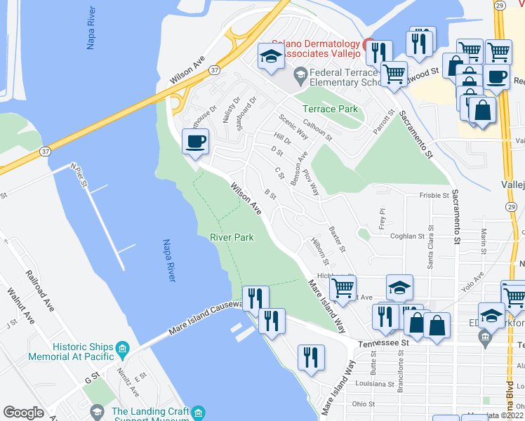 map of restaurants, bars, coffee shops, grocery stores, and more near 526 Wilson Avenue in Vallejo