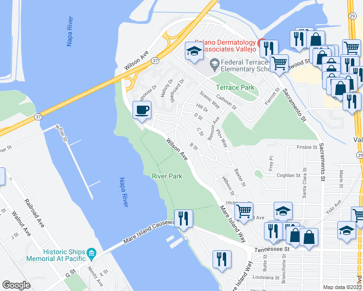 map of restaurants, bars, coffee shops, grocery stores, and more near 4 Daniels Avenue in Vallejo