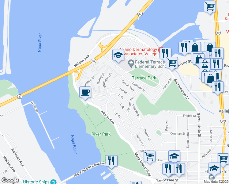 map of restaurants, bars, coffee shops, grocery stores, and more near 60 D Street in Vallejo