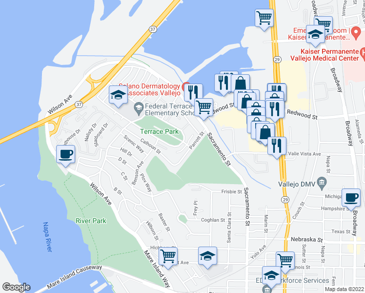 map of restaurants, bars, coffee shops, grocery stores, and more near 7 Rodgers Street in Vallejo