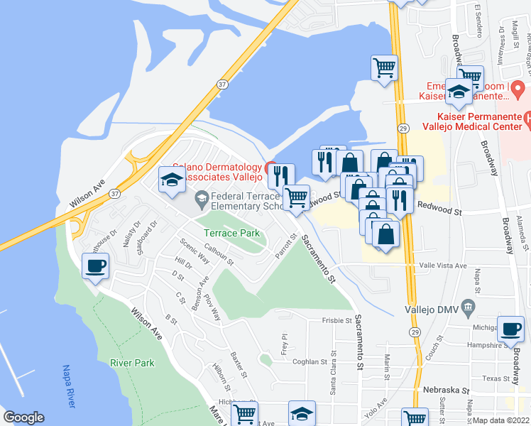 map of restaurants, bars, coffee shops, grocery stores, and more near 39 Werden Street in Vallejo