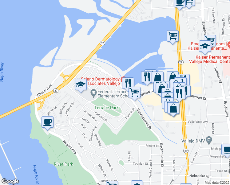 map of restaurants, bars, coffee shops, grocery stores, and more near 45 Baldwin Street in Vallejo