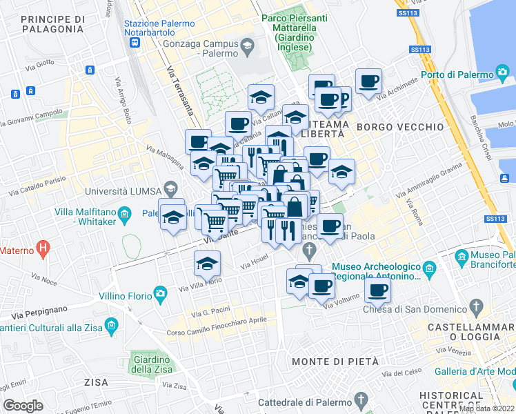 map of restaurants, bars, coffee shops, grocery stores, and more near 5 Via del Fervore in Palermo