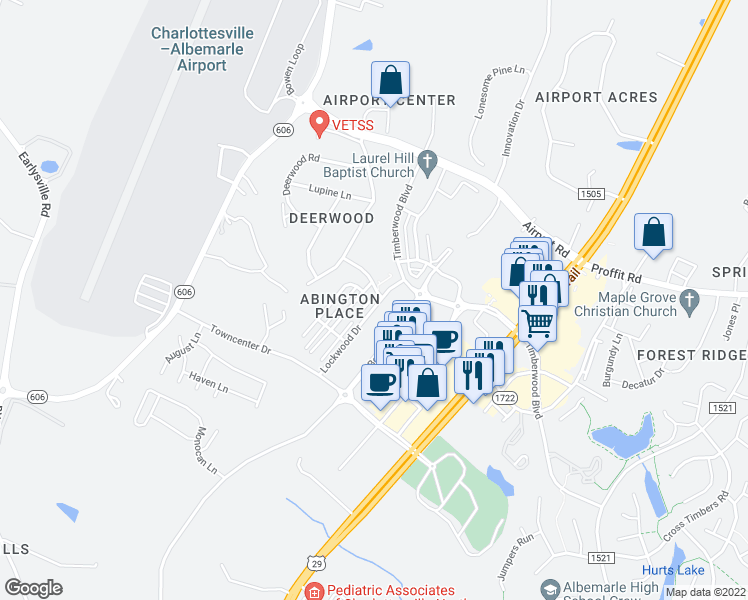 map of restaurants, bars, coffee shops, grocery stores, and more near Livingston Drive in Earlysville