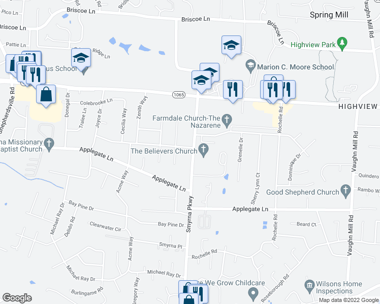 map of restaurants, bars, coffee shops, grocery stores, and more near 7900 Smyrna Parkway in Louisville