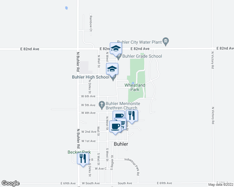 map of restaurants, bars, coffee shops, grocery stores, and more near 111 Curtis Street in Buhler