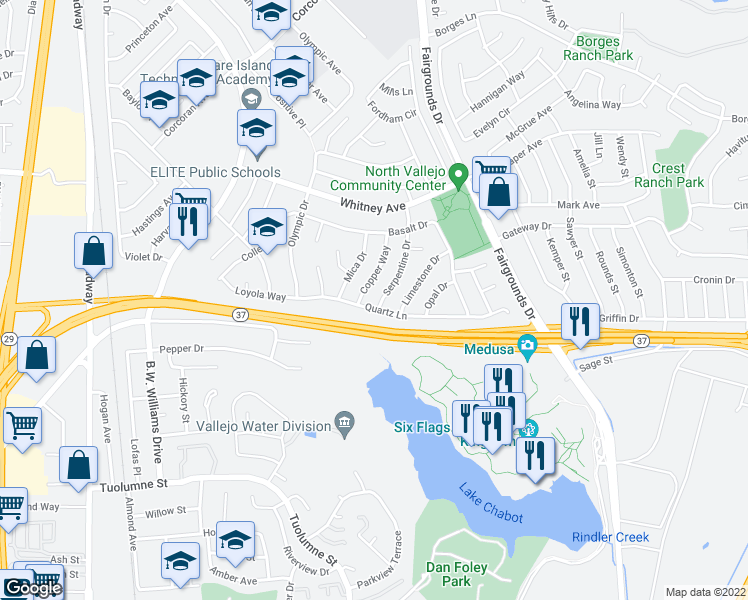 map of restaurants, bars, coffee shops, grocery stores, and more near 109 Serpentine Drive in Vallejo