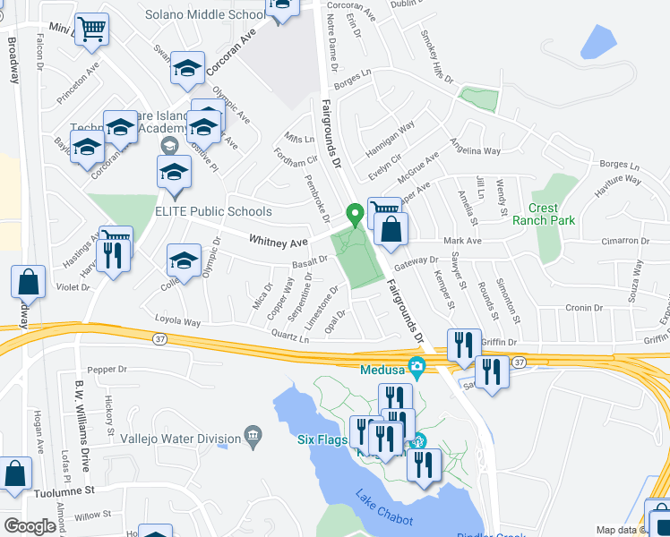 map of restaurants, bars, coffee shops, grocery stores, and more near 431 Basalt Drive in Vallejo