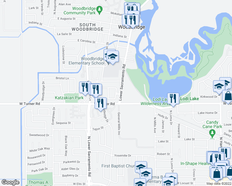 map of restaurants, bars, coffee shops, grocery stores, and more near Woodlake Circle in Lodi