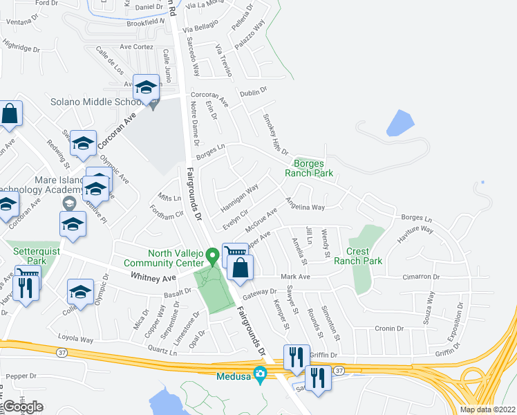 map of restaurants, bars, coffee shops, grocery stores, and more near 400 Evelyn Circle in Vallejo