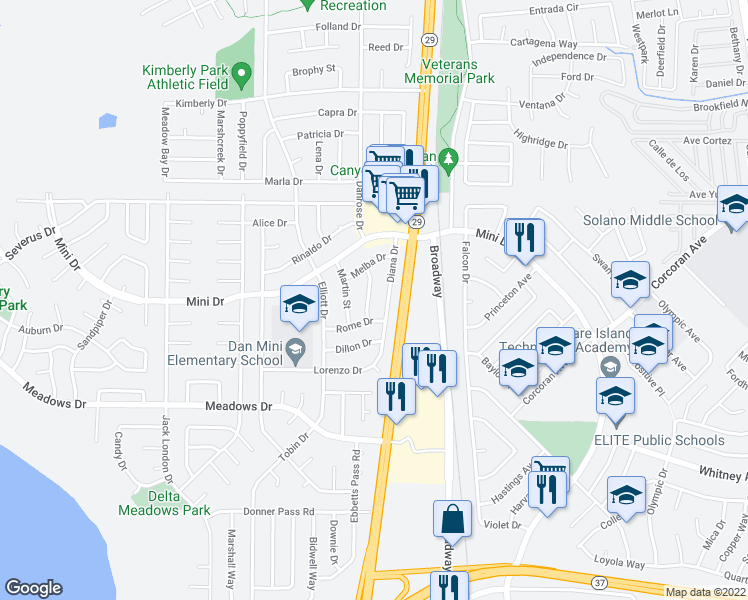 map of restaurants, bars, coffee shops, grocery stores, and more near 124 Spencer Street in Vallejo
