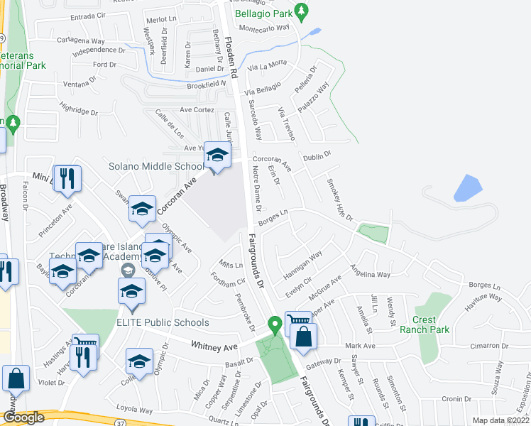 map of restaurants, bars, coffee shops, grocery stores, and more near 121 Notre Dame Court in Vallejo