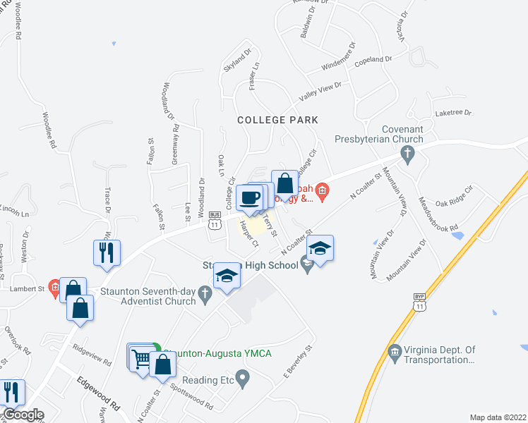 map of restaurants, bars, coffee shops, grocery stores, and more near 8-10 Terry Street in Staunton