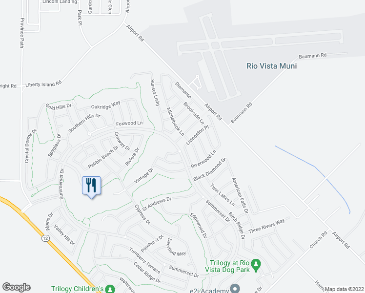 map of restaurants, bars, coffee shops, grocery stores, and more near 721 Livingston Place in Rio Vista