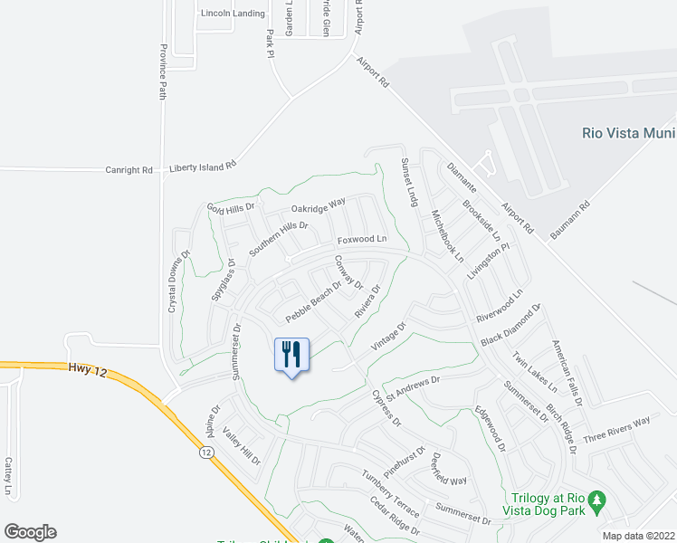 map of restaurants, bars, coffee shops, grocery stores, and more near 313 Conway Drive in Rio Vista