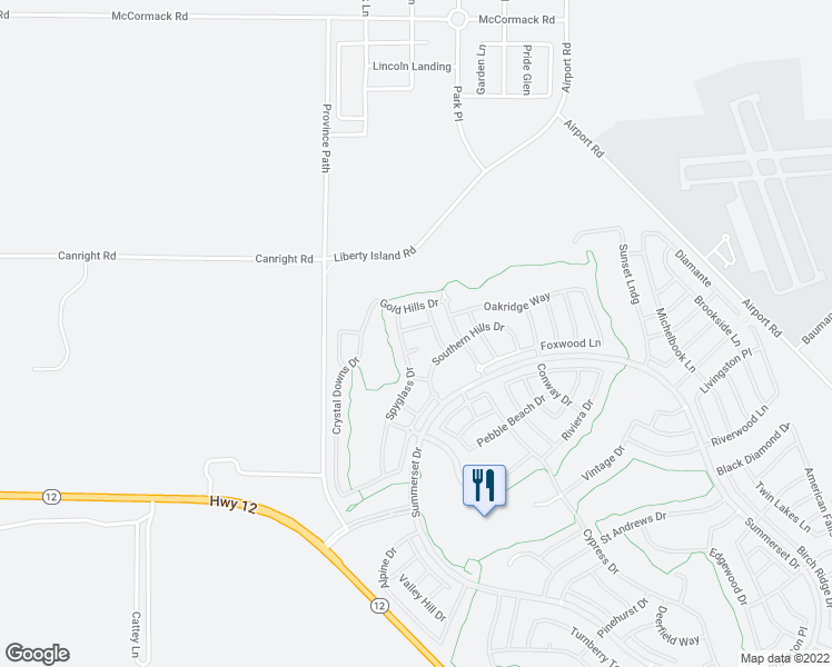 map of restaurants, bars, coffee shops, grocery stores, and more near 340 Desert Forest Drive in Rio Vista