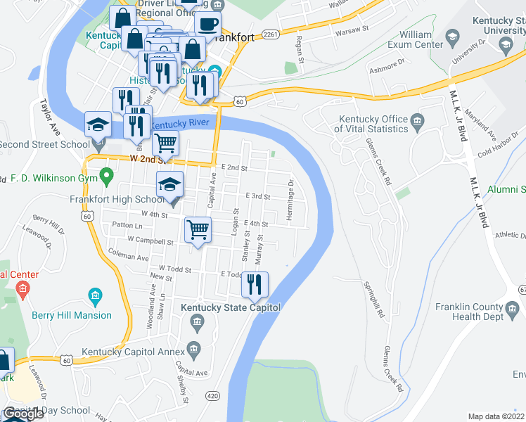 map of restaurants, bars, coffee shops, grocery stores, and more near Murray Street in Frankfort