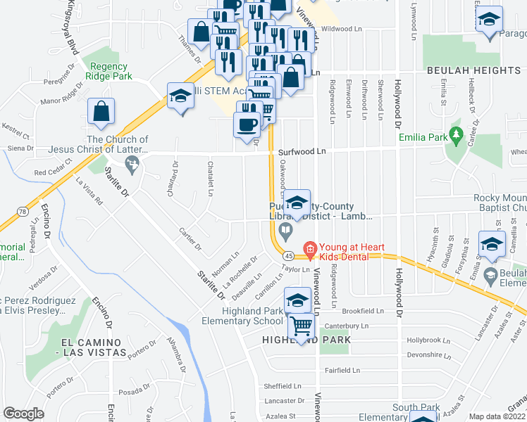 map of restaurants, bars, coffee shops, grocery stores, and more near 4015 O Neal Avenue in Pueblo