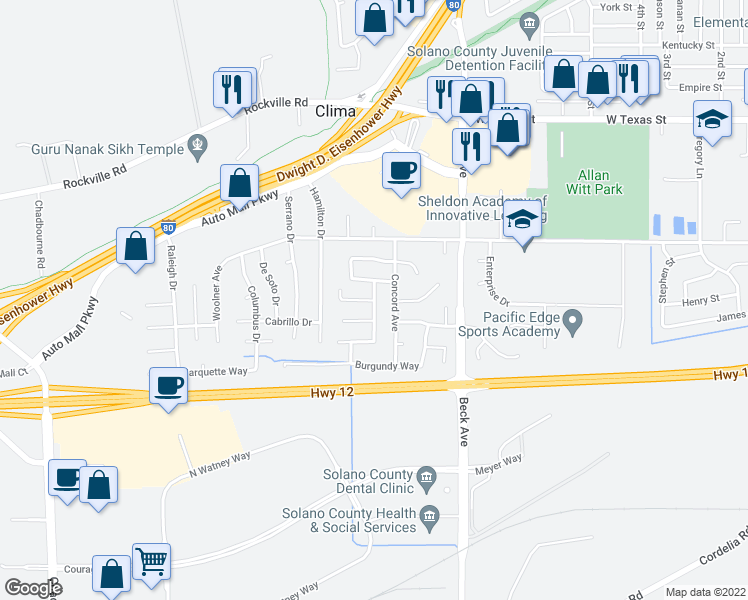 map of restaurants, bars, coffee shops, grocery stores, and more near Sunhaven Dr & Beaujolais Ct in Fairfield