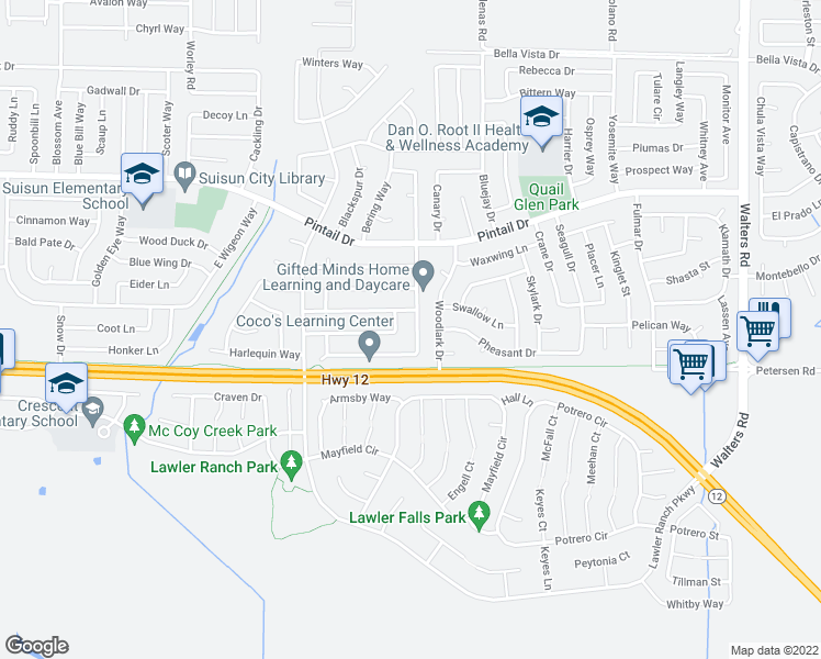 map of restaurants, bars, coffee shops, grocery stores, and more near 508 Crested Drive in Suisun City