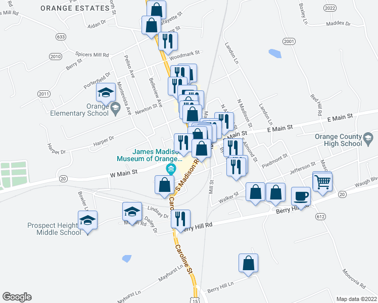 map of restaurants, bars, coffee shops, grocery stores, and more near 113 West Main Street in Orange