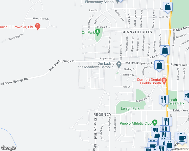 map of restaurants, bars, coffee shops, grocery stores, and more near 5000 Red Creek Springs Road in Pueblo