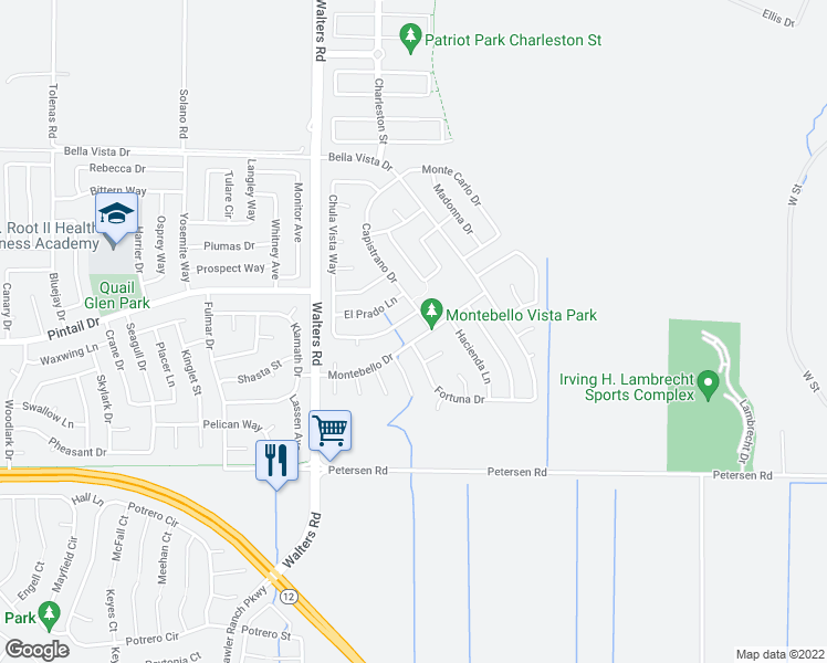 map of restaurants, bars, coffee shops, grocery stores, and more near 1526 Montebello Drive in Suisun City